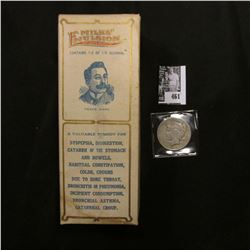 "1923 S U.S. Peace Silver Dollar, Fine; & Original Box with bottle of ""Milks' Emulsion Nature Remedy…"