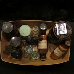 Interesting Box full of Old Medicine Bottles, one amber with a glass lid, several cork stoppered, an