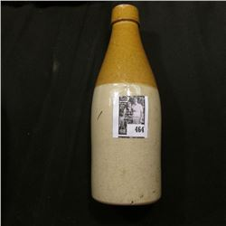 Two-toned old Stoneware Beverage Bottle, base is lightly chipped. No cork.