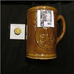 "Ceramic Mug ""Compliments Free Premium ""Cesundheit""""; & ca. 1880 Nickelodean Indian design token."