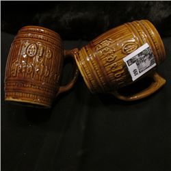 "(2) ""Old heidelberg"" Ceramic Barrel Mugs."