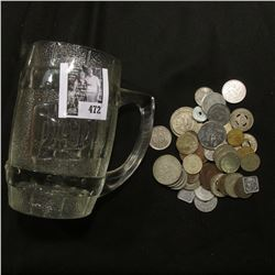 """Dad's"" Root Beer Clear Glass Heavy Mug; & an unsorted group of Foreign Coins and tokens."