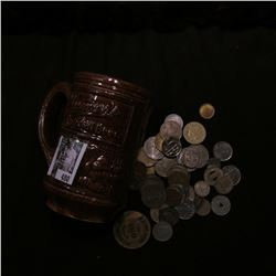 "Ceramic Mug ""Goldenglow Special Brew"",""Blumer's Special  Brew"" with a large group of unsorted foreig"
