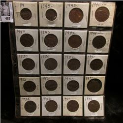 20-pocket Plastic page full of New Zealand large pennies and half pennies.