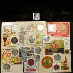 "12"" x 16"" Glass-faced case full of Breweriana Medals, Tokens, and Etc."