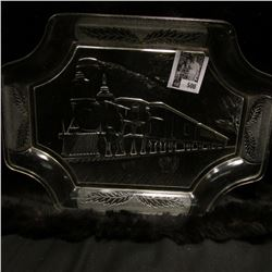 "Clear Glass embossed serving plate depicting a ""350"" Locomotive with Railroad Cars. 9"" x 12"""
