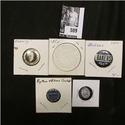 "Religious Pendant; Pin-backs: ""R & B Contest Work for the Blues""; ""Ohio Bakers Ass'n""; ""Honoring Col"