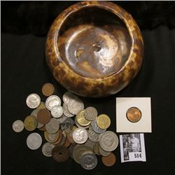 Glazed Pottery Bowl with an unsorted group of Foreign Coins & tokens.