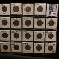 (4) 1933 P & (15) 33 D Lincoln Cents in holders and ready for sale. Grades up to VF.