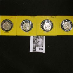 (4) 1944 P World War II Silver Jefferson Nickels, Choice AU to Uncirculated.