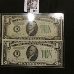 "Series 1934A ""B"" Federal Reserve Bank of New York, NY. $10 Banknote, VF+; & Series 1934 ""H"" Federal"