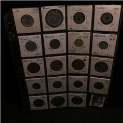 20-Pocket Plastic Page with (19) Various Foreign coins including Silver, all priced to sell about tw