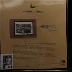 2005 $7.50 Arizona Waterfowl Stamp depicting the Pintail, Absolute mint condition with literature an