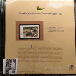2005 $10 North Carolina Migratory Waterfowl Stamp depicting the Green-winged Teal, Absolute mint con