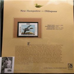 2005 $4.00 New Hampshire Waterfowl Stamp depicting the Oldsquaw, Absolute mint condition with litera