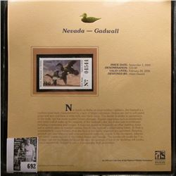 2005 $10.00 Nevada Waterfowl Stamp depicting the Gadwall, Absolute mint condition with literature an