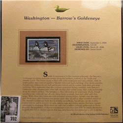 2005 $10.00 Washington Waterfowl Stamp depicting the Barrow's Goldeneye, Absolute mint condition wit