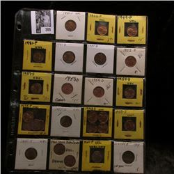 20-pocket plastic page of (26) Mostly Uncirculated to BU Lincoln Cents dating 1909 P to 60 P small d