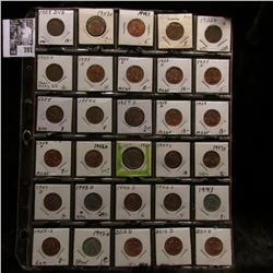 30-pocket plastic page of (30) Mostly Uncirculated to BU Lincoln Cents dating 1909 P VDB to 2010 D,