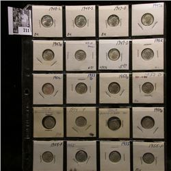 20-pocket plastic page of Silver BU Roosevelt Dimes including dates 1947 D to 1955 P. (20 pcs.).