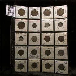 20-pocket plastic page of Mexican Coins. Includes several Silver coins,
