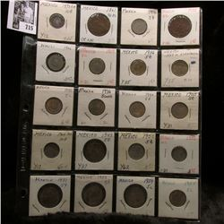 20-pocket plastic page of Mexican Coins and at least one dates back to 1861, includes several Silver