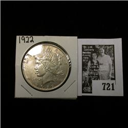 "1922 P U.S. Peace Silver Dollar, EF; & ""Iowa Educational Directory School Year 1929-1930:."