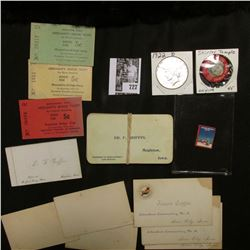 "1934 Seasons Greeting Stamp; large group of old Iowa Business Cards; (3) different ""Muscatine, Iowa"