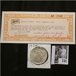 "1924 P U.S. Peace Silver Dollar, EF; & a 1964 ""Storz Brewing Company, Omaha, Nebraska"" scrip for a s"