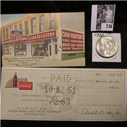 """Burl & Kenney Store Equipment Corp"" advertising card; 1951 Coca-Cola check from Ottumwa, Iowa; & 19"
