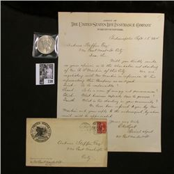 "1894 Letter and envelope from the ""United States Life Insurance Co.""; & 1922 P U.S. Silver Peace Dol"
