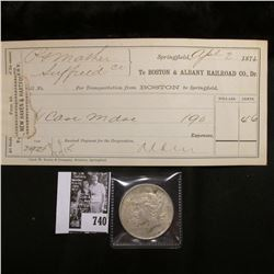 "April 2, 1874 Invoice ""To Boston & Albany Railroad Co., Dr.""; & 1922 D U.S. Peace Dollar, VF."