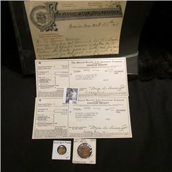 "1895 ""Fire Association of Philadelphia"" Invoice; 1941 Invoice ""The Mutual Benefit Life Insurance Com"
