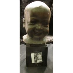 "Heavy Bronze Bust of a babies' head. 8 1/4"" bronze on marble. Signed on back ""Michieli""."