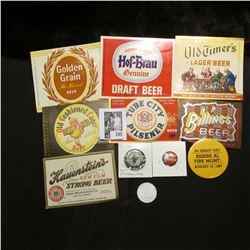 "(7) different Mint condition Beer Bottle labels; (3) different pin-backs including a ""Milkman's Club"