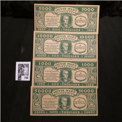 "Mint set of four different ""Movie Mart Currency"", denominations include $1000, $5000, $10000, & $500"