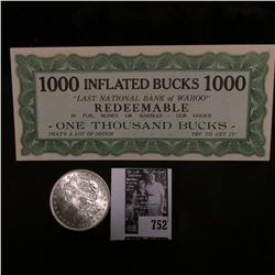 "Scrip ""1000 Inflated Bucks 1000 ""Last National Bank of Wahoo"" Redeemable in Fun, Money or Marbles-ou"