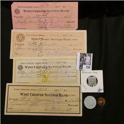 "Four different World War II era cancelled checks from ""West Chester Savings Bank, West Chester, Iowa"