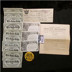 "April 14, 1934 University of Iowa Service Bulletin; 1929 cancelled check from ""The Citizens Savings"
