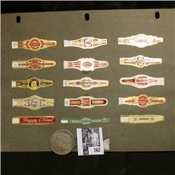 Set of (15) Old Cigar Bands; & 1923 S U.S. Peace Silver Dollar, Toned VF.