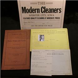 "March, 1965 Topographical Map of Iowa; sign ""The Modern Cleaners Webster City, Iowa…""; 1907 Booklet"