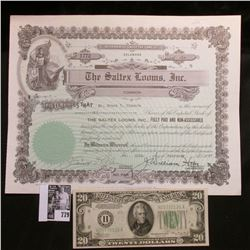 "Stock Certificate for 1 Share ""The Saltex Looms, Inc"", 1947, State of Delaware. Signed and notarized"