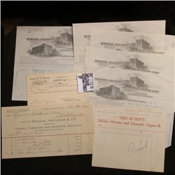 "1899 Postcard from ""Peregoy & Moore"" (Cigar Company); (5) 1914 era invoices from ""Smith, Lighty and"