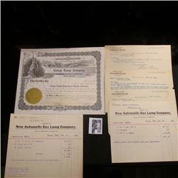 "(5) 1899-1905 Gas Lamp Company Invoices & a stock certificate from ""Cateye Lamp Company Omaha, Nebra"