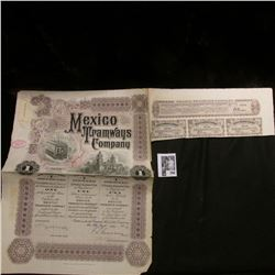 "1912 ""Mexico Tramways Company"" Bond with three attached coupons."