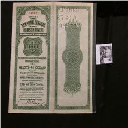 "1918 Notarized $1000 Bond ""The New York Central and Hudson River Railroad Company"" with numerous rem"