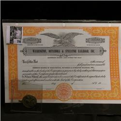 "Unissued Stock Certificate ""Washington, Metamora & Streator Railroad, Inc."" and a Brass religious pe"