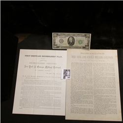 "1875 ""First Mortgage Bondholders' Plan…New York & Oswego Midland Railroad…""; & a Crisp Uncirculated"