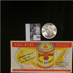 "1922 P U.S. Peace Silver Dollar, Briliant Uncirculated; & a ""Blue Ribbon Malt Extract"" Ink blotter."