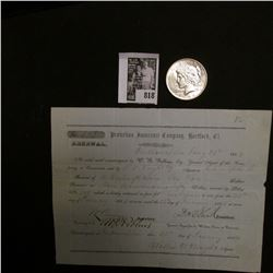"1854 Receipt for ""Protection Insurance Company, Hartford, Ct."" & 1924 P U.S. Peace Silver Dollar, Ch"